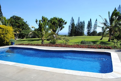 Private 34' pool, solar heated, 10th fairway out the back gate