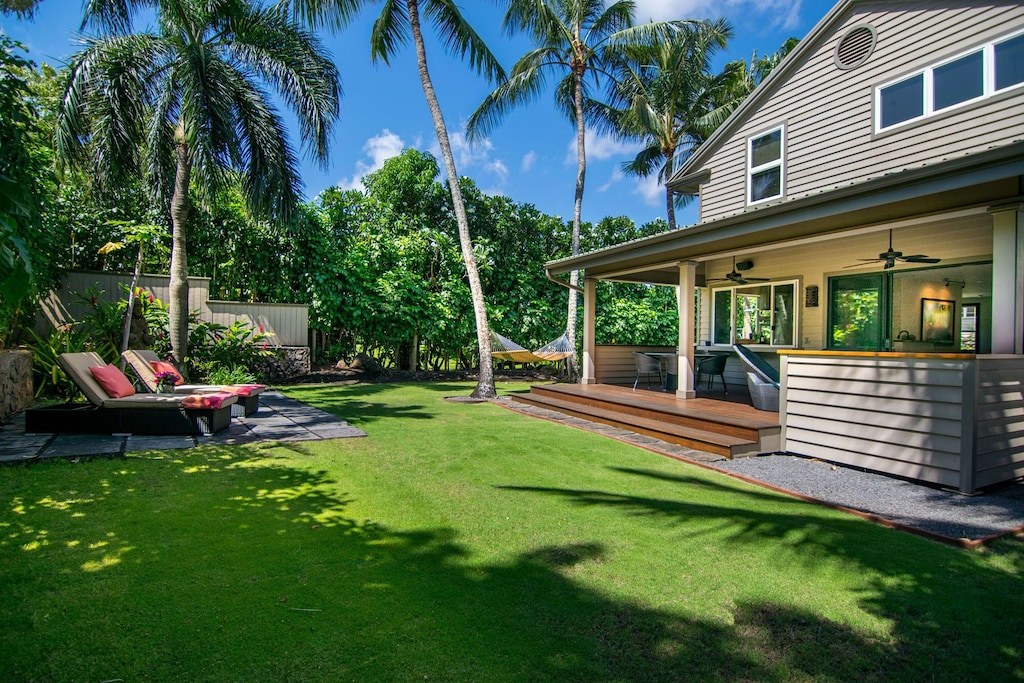 Backyard of a house in Paia near the most epic hikes on Maui