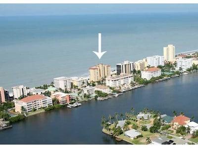 SeaChase on Gulf showing Vanderbilt Bay Lagoon Behind