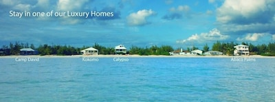 This is a view of Casuarina Point from the water.  Abaco Palms is on the right.