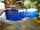 The pool is just steps away, stays cool and has sofa style seating.