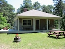 Large deck, covered porch and picnic table