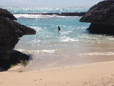 Shark's Hole beach next to the villa