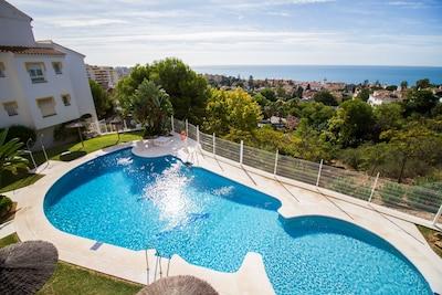 Apto en Málaga céntrico, con 3 piscinas abiertas todo el año, cerca de la playa
