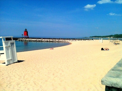 Lake Michigan Beach And Lighthouse Outside Your Front Door