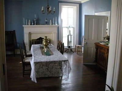 The Blue Dining Room - 1 of 2 Dining Rooms 3 antique dining tables for your use.