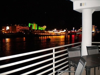 Laughlin Casino view from balcony at night.