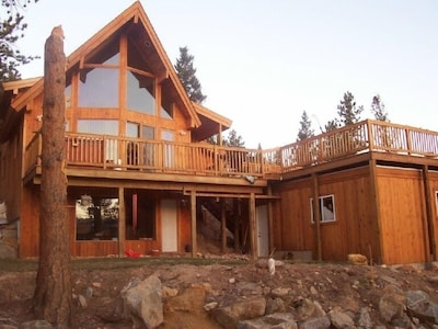 The front of our mountain home. Huge windows and great deck incredible views.