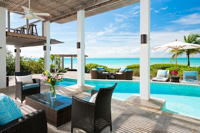 Sapphire Sunsets - Shaded patio with gorgeous views to the beach and ocean