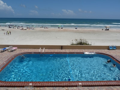 View of No Drive (Vehicle Free) Beach from Large Private Oceanfront Balcony