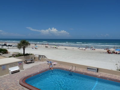 Northward View of Beach-side Pool & Ocean from Large Private Oceanfront Balcony