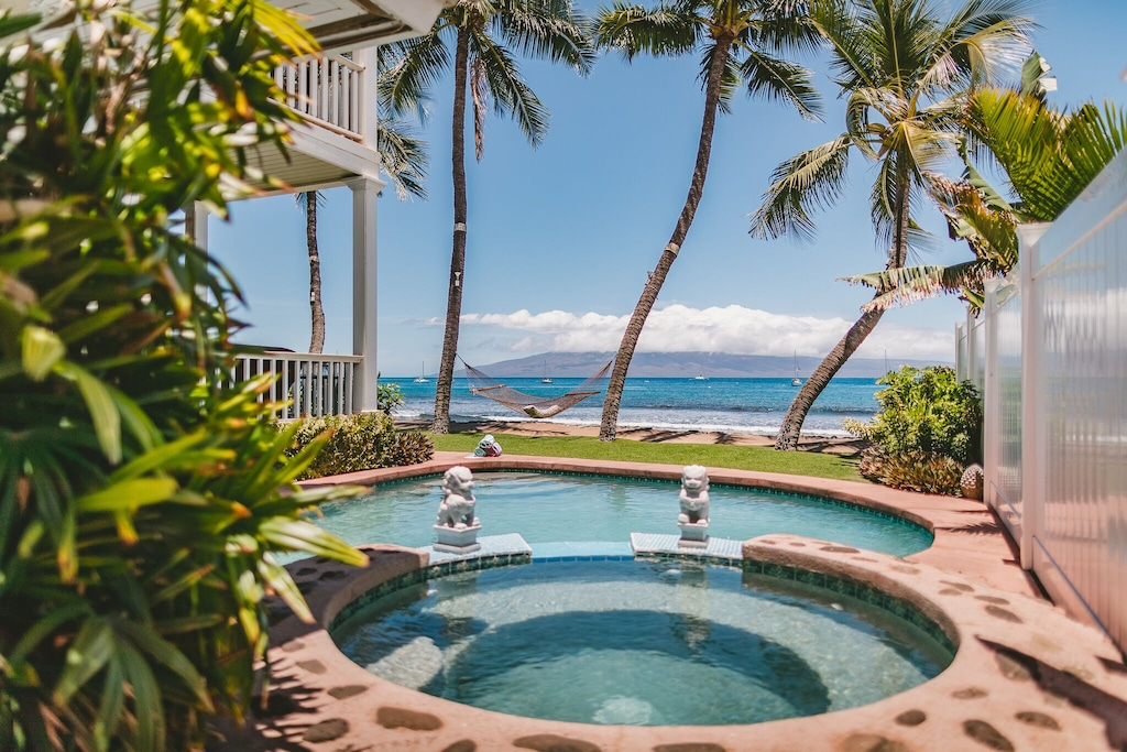 This oceanfront villa with pool listed on Airbnb Maui is one of the most luxurious Hawaiian vacation rentals