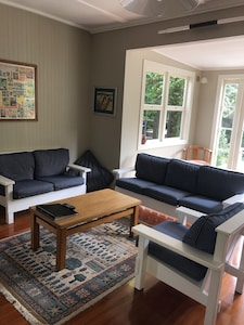 Lounge opens onto sunny back deck