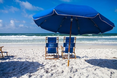 Complementary beach umbrella and chairs