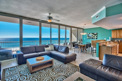 30-foot wide WALL OF GLASS is continuous, brings the Gulf INSIDE to you!