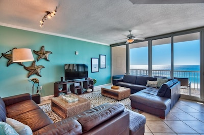 leather sectionals, cozy and modern coastal decor, SONOS speaker