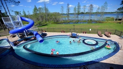 "The ""Go Fish"" pool and multi speed lazy river, waterslides, and more!"