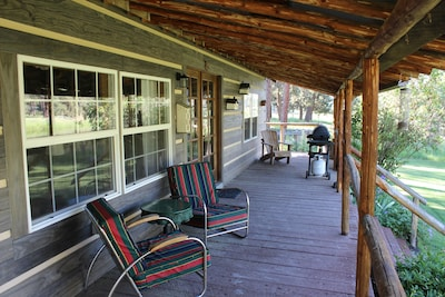 The porch at Arrowhead Cottage is the best spot on the ranch.
