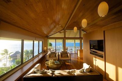 View of Bora Bora Lagoon and Motus from the living room.