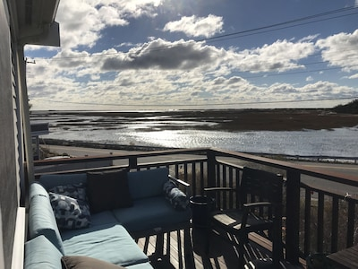 View from the upper level deck at high tide.