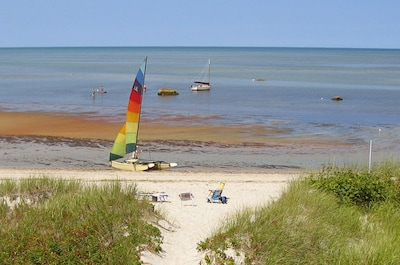 Enjoy beach activities at low or high tide.