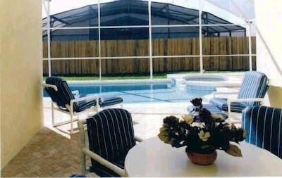 Private Screened in Pool with Spa