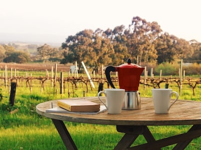 Enjoy your morning coffee with a view of the vines and hills