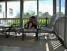 Relaxing on screened porch
