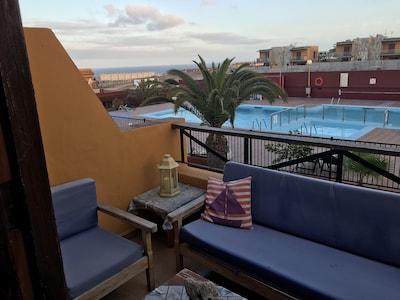 Precioso apartamento con vistas al mar y a la piscina en Costa Antigua, Fuerteventura