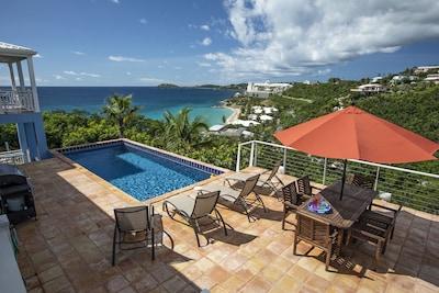 CalypsoBlu tiled pool deck, overlooking Morningstar Beach