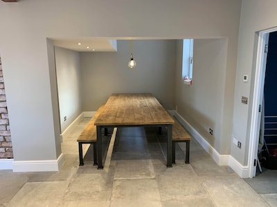 11ft dining table and benches - seats up to 16+