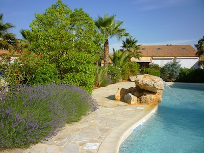 The landscaped terrace around the residents only pool