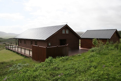 House and guest house seen from back