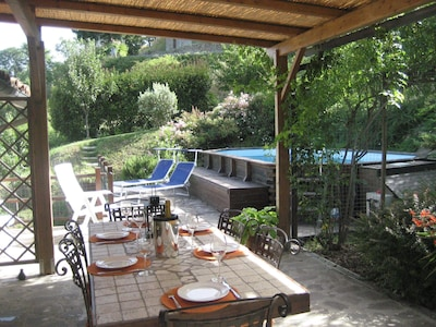 Terrace, swimming pool and garden