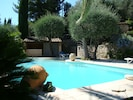 La piscine, sa plage et son pool-house.