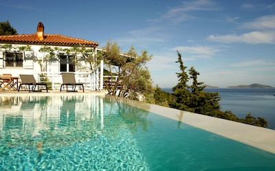 Amazing sea-front villa with heated infinity pool in Alonissos, Greece.