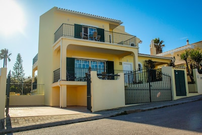 Front of villa with access to private drive and also access to garage/basement