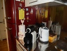 Kitchen with toaster, Nespesso coffee machine with filter, Kettle, dishwasher
