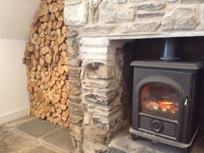 log burner in the sitting room