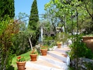 Steps through the garden of La Cuadra.