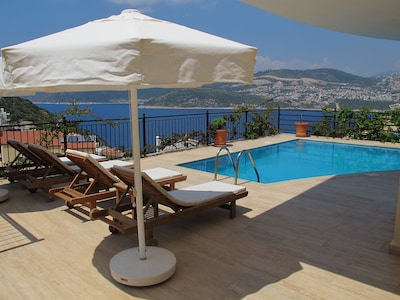 View over Kalkan Bay from the pool
