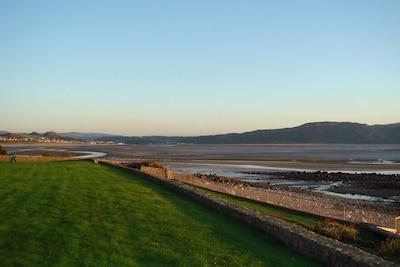 Evening estuary view, low tide.