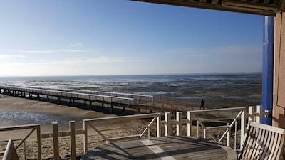 vue de la terrasse sur la jetée