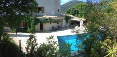 vue jardin piscine