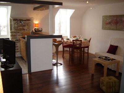 Salle à manger et salon avec cuisine ouverte et bar