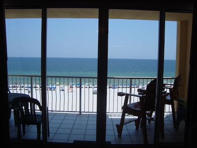 View of the ocean from the living room is remarkable.