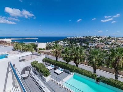 The villa is decked like a luxury yacht.Each level enjoys views.