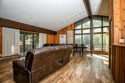 Hardwood floors & large windows provide a little more luxury in the wilderness.