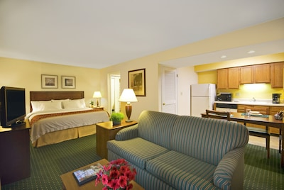 Guest Suite with full-size kitchen and Queen-size sofa-bed.