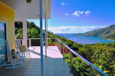 View of Coral Bay and the hillside in the morning,
